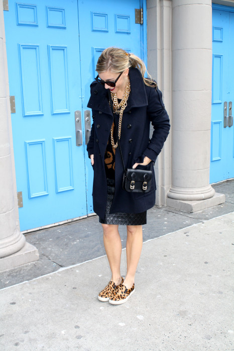 Leopard slip-ons, Quilted leather skirt, Pencil skirt, Cross-body bag, Chunky Sweater, Navy Military Coat