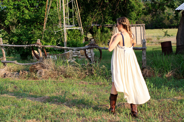 Texas, Country, Western, Inspired, Braids, Urban Outfitters Dress, Hazel clothing, Old Gringo cowboy boots, Cowboy Boots, Countryside