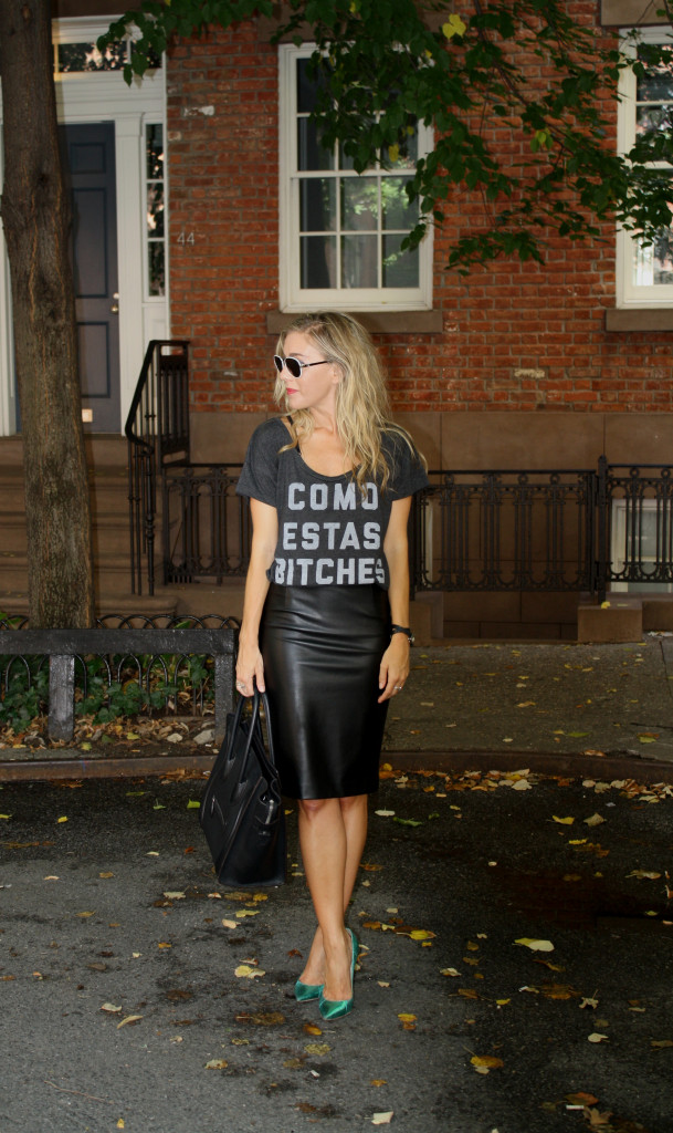CES, Ann Taylor Leather Skirt, Aviators, Celine, tote