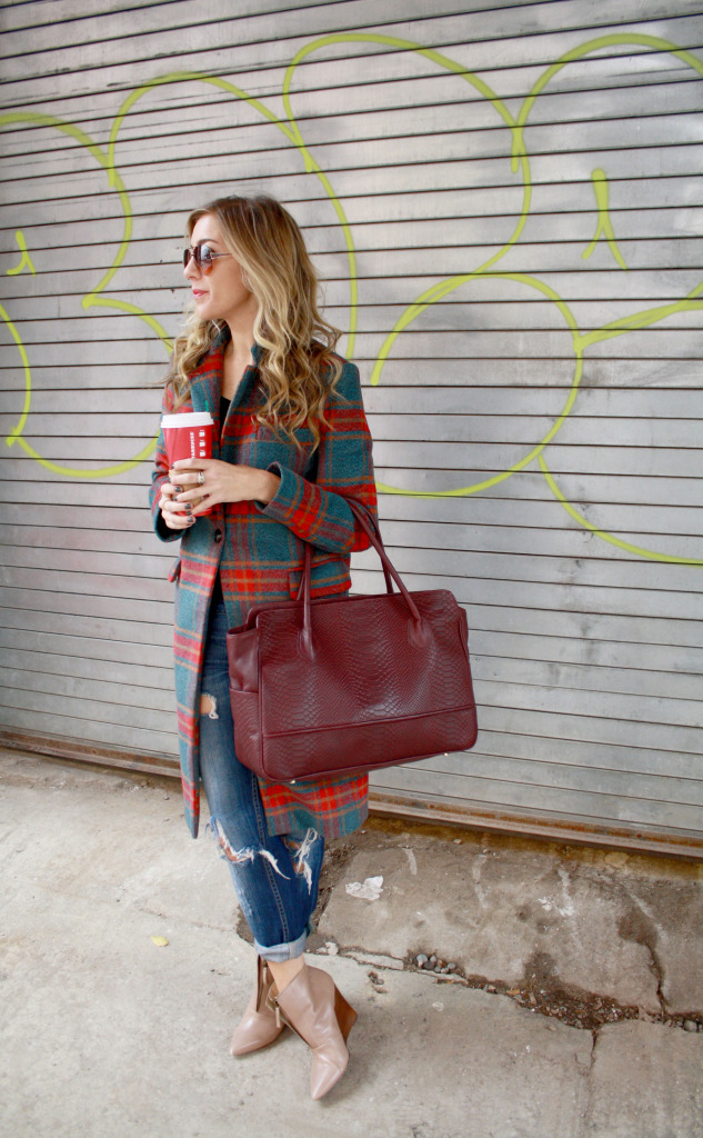 Plaid, Winter, Layers, Menswear, WIW, OOTD, Ripped Boyfriend Jeans, Gigi NY, Polar Vortex, 2 Starbucks, Glamourous