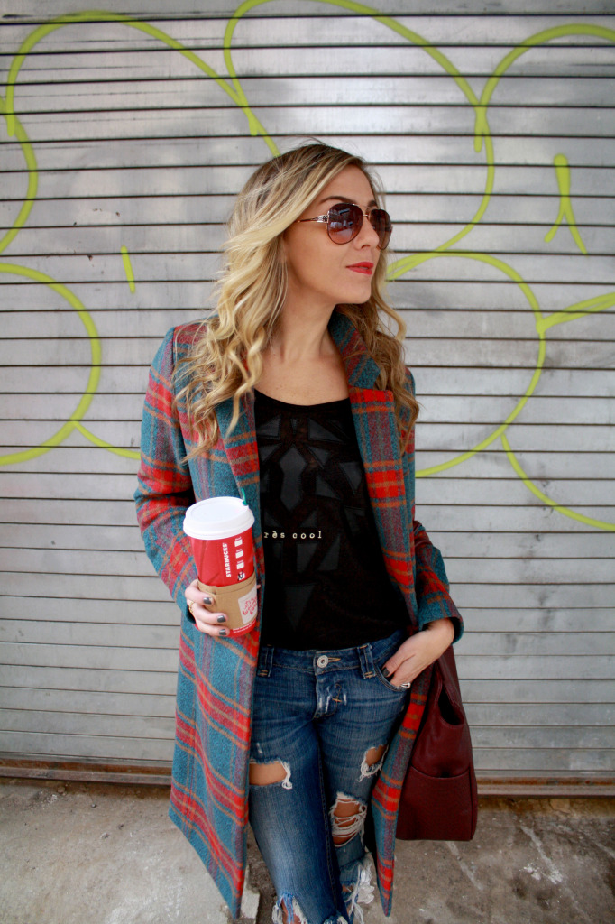 Plaid, Winter, Layers, Menswear, WIW, OOTD, Ripped Boyfriend Jeans, Gigi NY, Polar Vortex, 2 Starbucks, Glamourous, Brunch Style