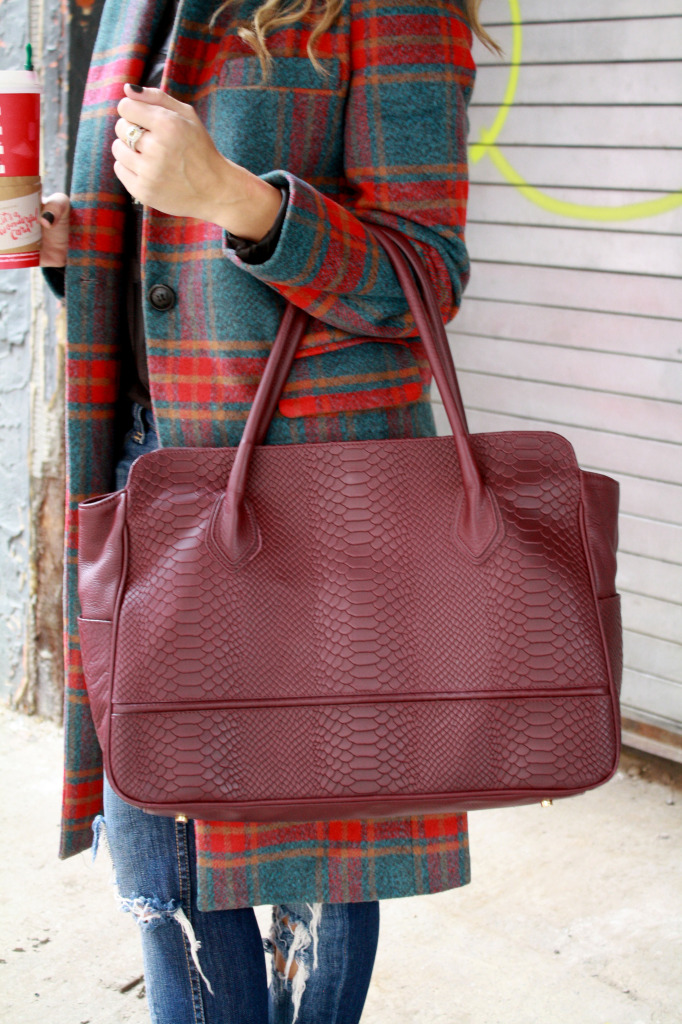 Plaid, Winter, Layers, Menswear, WIW, OOTD, Ripped Boyfriend Jeans, Gigi NY, Polar Vortex, 2 Starbucks, Glamourous, Love this bag