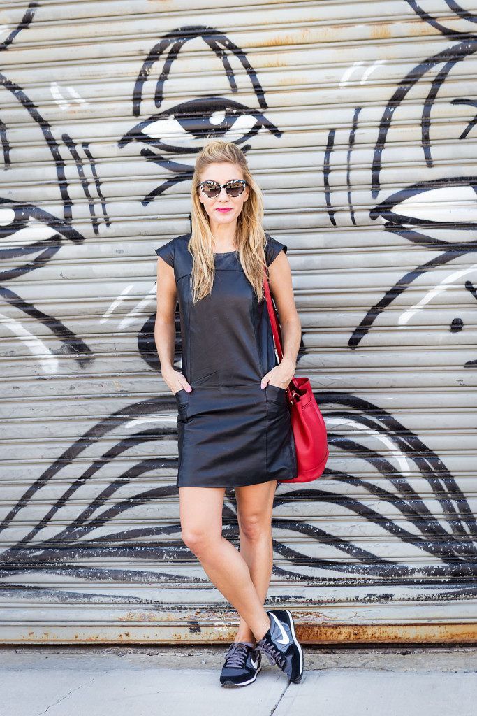 Street Style, Williamsburg, Brooklyn, What I Wore, OOTD, NYC, New York, Leather, LBD, Ralph Lauren, Nike, Styling Hacks, Camo, How to wear