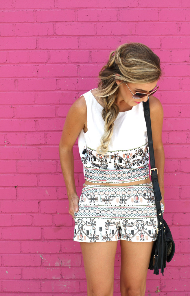Matching sets, Fashion blogger, girls with gluten, donuts, dallas blogger, ootd, summer, Mermaid Braid, details'