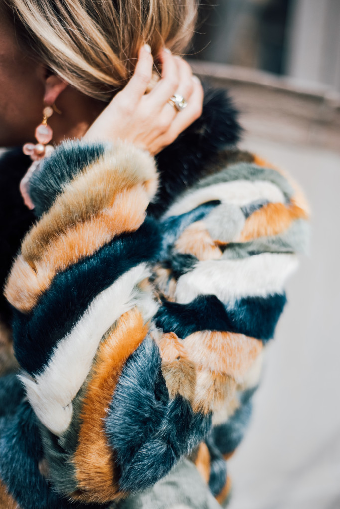 Impossibly Imperfect, Street Style, Leather Skirt, Chevron Fur Jacket, Suede mules, NYC
